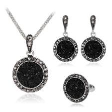 Jet Black Round Drop Necklace Pierced Drop Earrings Ring Jewelry Set S71