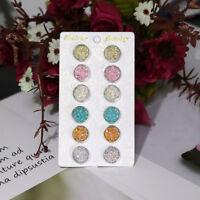 6 Pairs Stainless Steel Glitter Crystal Rhinestone Round Stud Earrings Jewelry