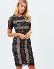 Oasis Black Nude Lace Dress Size 12