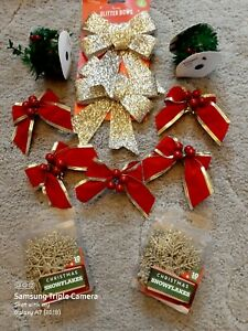 Joblot Christmas Decorations Wreath Making Gold Red