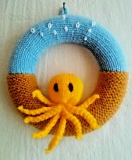 Hand Knitted Sea life Octopus Wreath Wall Decoration.