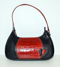 Brighton Red Black Heart Purse Handbag Cut out design Light  Zip top bag