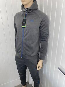 Hugo Boss Tracksuit Hooded Jacket & Pants Mens Grey/blue Bnwt £119 Size Medium