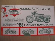 NEW NOS 1958 Harley Davidson Model Range Fold-Out Brochure Duo Glide Hummer MS2