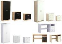 Kanya High Gloss Bedroom Furniture Corner Wardrobe Drawers Black White Cream Oak