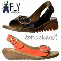 Womens Fly London Tram Leather SlingBack Wedge Sandal Shoe Cleated Sole Size