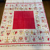 "Vintage German Dutch Square Tablecloth Tulip Dancing Houses Rooster 45"" x 45"""