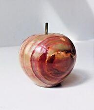 Vtg Italian Marble & Brass Apple Paperweight 1950s Mid Century Modern Unusual