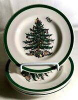"4 Spode Christmas Tree 6 1/2"" Bread And Butter Plates England Backstamp"