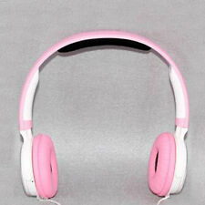 Pink White Stereo Headset Headphone Bass
