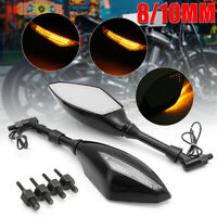 2x 8mm 10mm Motorcycle Turn Signal LED Rear Mirror Integrated Indicator Light