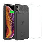iPhone XR Battery Charger Case Slim Rechargeable Backup Cover with Qi Charging