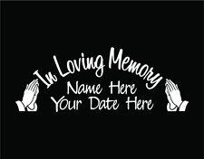 In Loving Memory of Custom Car Vinyl Decal Window Sticker with Praying Hands