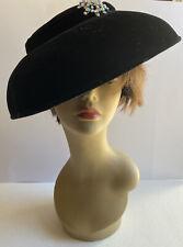 Vtg 1950s Saucer Tilt Hat Black Velvet Wide Brim Deco Fascinator Film Rhinestone