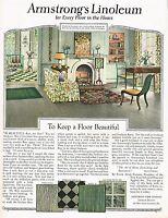 1920s BIG Vintage Armstrong's Linoleum Flooring Floor Period Decor Art Print Ad