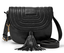 FOSSIL Black Saddle Crossbody Handbag Genuine Leather Messenger MSRP $178