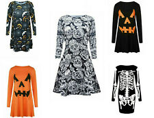 Womens Ladies Skull Pumpkin Flared Swing Dress Halloween Party Plus Sizes 8-26