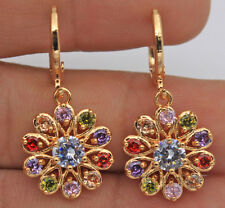 18K Yellow Gold Filled - Mystical Topaz Hollow Windmill Flower Wedding Earrings