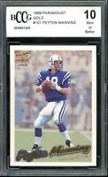 1999 Paramount Gold #101 Peyton Manning Card BGS BCCG 10 Mint+