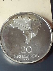 Brazil Pattern Test Prova 20 Cruzeiros Silver 1972 PROOF  PRICED TO SELL