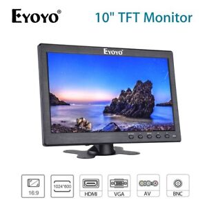"""10"""" LCD Monitor BNC AV VGA HDMI Video Input Built in Speaker For PC CCTV System"""