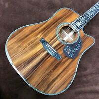 41 inch round D barrel full KOA wood abalone shell inlaid folk electric acoustic