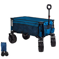More details for timber ridge collapsible beach trolley with wide wheels, folding camping wagon,