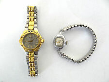 2 Vintage Old Bulova B009259 10k Rolled Gold Plate Marine Fan Wristwatches Parts