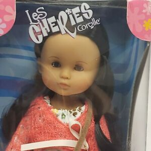 """Corolle Les Cheries 13""""  Cathy New In Box Long brown hair brown Eyes Hippie o/f"""