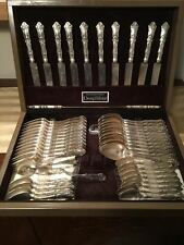ANTIQUE DEPRESSION SILVER FLATWARE SERVICE FOR 12, WALLACE 1907, EXCELLENT COND