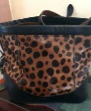 Vintage Felisi Ann Taylor Leopard Calf Hair Leather Handbag Shoulder Bag Purse