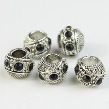 10Pcs Crystal Tibetan Silver Big Hole Charm Beads Fit European Bracelet 10mm