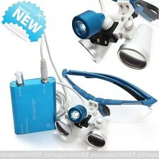 Blue Dental Surgical Medical Binocular Loupes 2.5X 320mm+ LED Head Light Lamp