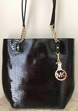 NWT Michael Kors Jet Set Black paten Leather MK Item Chain Tote Purse Bag $268