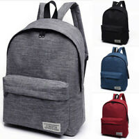 Woman Men Canvas Backpack Fit Laptop Rucksack School Travel College Bag Grey Red