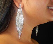 Wedding Silver Chandelier Crystal Rhinestone Pierced Earrings