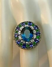 Sterling Silver Blue Topaz Tanzanite Tsavorite Diamond Cluster Ring Size 11