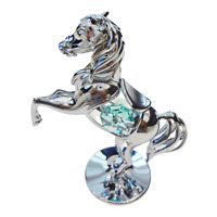 Crystocraft Rearing Horse Crystal Ornament Swarovski Elements Gift Boxed Aqua
