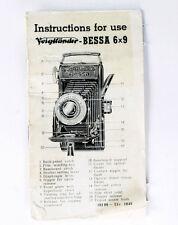 Voigtlaender Bessa 6x9 Original Instruction Manual - 20 pages