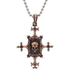 Gothic Framed Skull Copper Pendant - Bronze