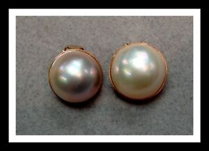 Vintage 14 K Gold And Mabe Pearl Clip Earrings