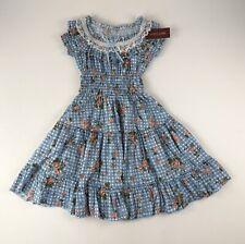 NWT Bodyline Lolita Harajuku Kawaii Blue/Wht Check Floral Tiered Dress Sz M Lace