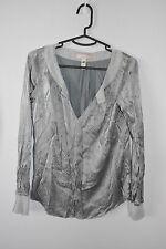 BANANA REPUBLIC HERITAGE silk blend top blouse grey silver size small 8 10