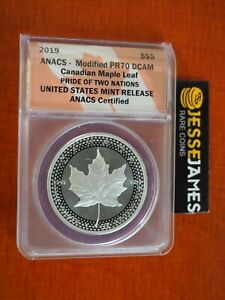 2019 $5 MODIFIED PROOF SILVER MAPLE LEAF ANACS PR70 DCAM FROM PRIDE OF NATIONS