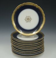 ANTIQUE POUYAT LIMOGES COBALT GOLD ENCRUSTED SET OF 11 PLATES