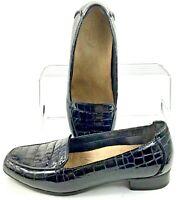 Clarks Artisan Keesha Luca Loafers Women's 6.5 M Black Croc Patent Slip On Shoes