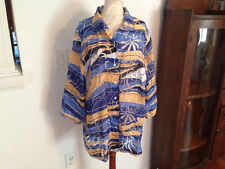 NEW ALLISON DALEY Blue Gold White 3/4 Sleeve Sheer Button Blouse Top 22W