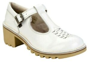Womens Kickers Block Heel Leather Shoes