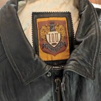 IOU Black Leather Bomber Jacket 1993 Leather Collection Size Large-Near Perfect