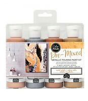 COLOR POUR - PRE MIXED STARTER KIT (4pc) - Mixed Metals Metallic Canvas Painting